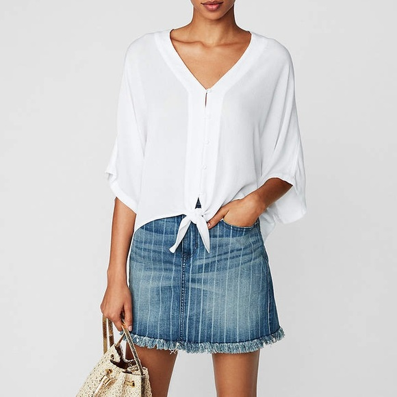 Express Tops - Express Tie-Front Button Up V Neck Top